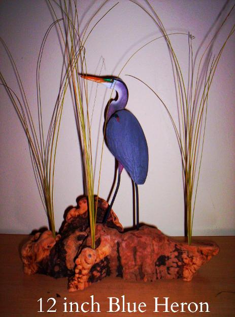 Miniature Blue Heron sculpture