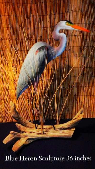 blue heron sculpture statue carving