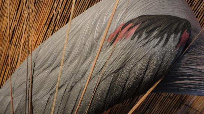 blue heron feather detail Rod Becklund sculpture